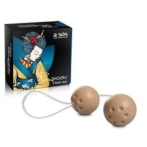 Ben-Wa conjunto com 02 bolas para exercícios vaginais - Marfim